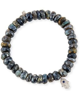 8mm Labradorite Beaded Bracelet With Diamond & Sapphire Hamsa Charm