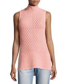 Abbot Sleeveless High-low Mock-neck Sweater