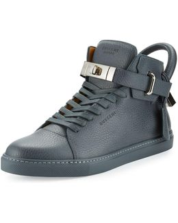 100mm Men's Leather High-top Sneaker