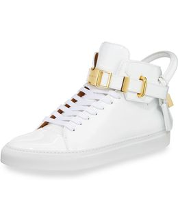 Men's 100mm Patent Leather High-top Sneaker
