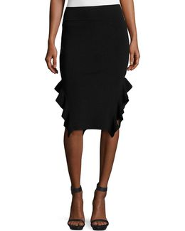 Ruffle-trim Ponte Pencil Skirt