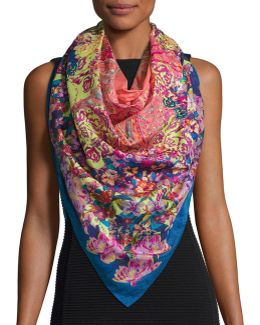 Bombay Floral Watercolor Paisley Square Scarf