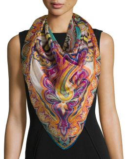 Bombay Metallic Paisley Silk-blend Scarf
