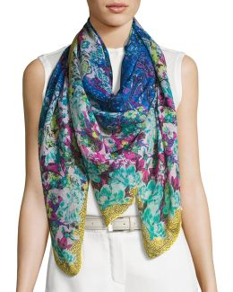 Floral Cashmere & Silk Square Scarf