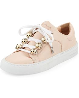 Leather Dome-studded Low-top Sneakers