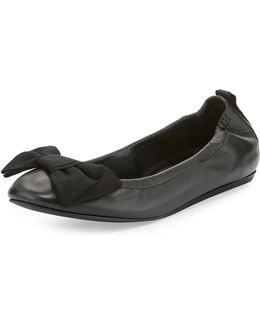 Bow Leather Ballet Flats