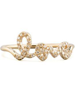 14k Yellow Gold Diamond Love Script Ring