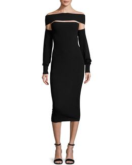 Cutout Off-the-shoulder Jersey Midi Dress