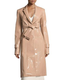 Patent Leather Belted Trench Coat