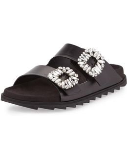 Strass-buckle Two-band Slide Sandal