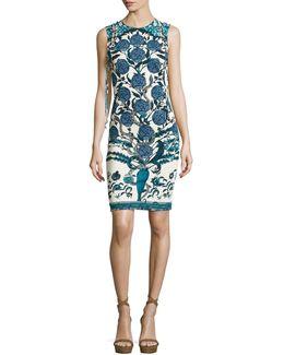 Rose & Snake-print Jersey Sheath Dress