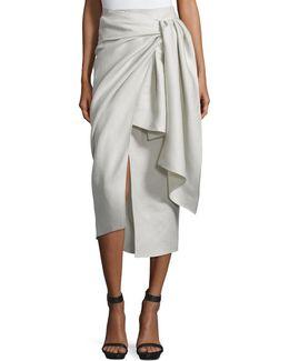 Fran Metallic Twill Wrap Skirt
