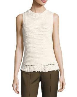 Meenara Crosshatched Knit Tank Sweater