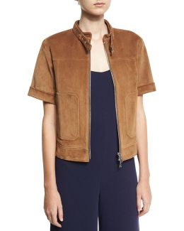 Lavzinnie Wilmore Short-sleeve Suede Jacket
