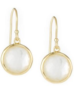 Lollipop® Mini Earrings In 18k Gold With Clear Quartz And Mother-of-pearl Doublet