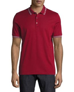 Cotton Piqué 3-button Polo Shirt With Gancini Detail On Collar