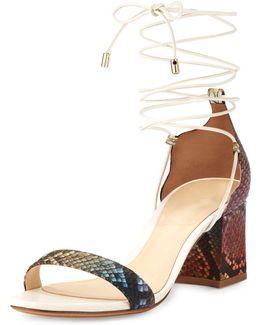 Multicolor Python Ankle-wrap Sandal