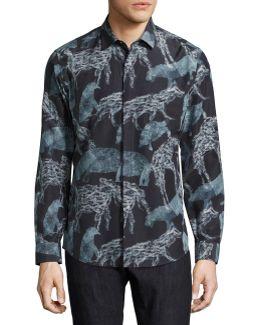 Safari Animals Silk-cotton Sport Shirt