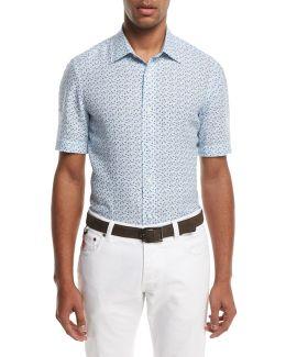 Micro-leaves Short-sleeve Sport Shirt