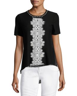 Raquel Embroidered Short-sleeve Sweater W/ Chiffon Back