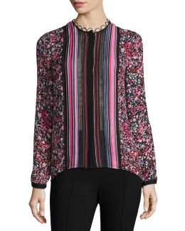Buffy Long-sleeve Striped & Floral-print Silk Blouse