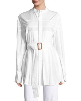 Kaimee Pleated Belted Blouse