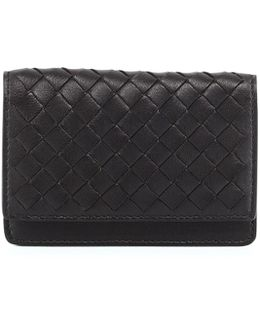 Woven Leather Flap-style Credit Card Case