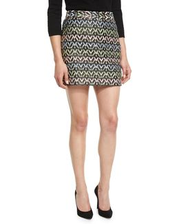 A-line Chevron Brocade Modern Mini Skirt