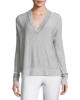 Eased Striped V-neck Pullover Sweater