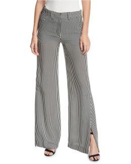 Miles Striped Silk Wide-leg Pants