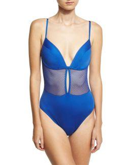 Lingerie Mesh V-neck One-piece Swimsuit