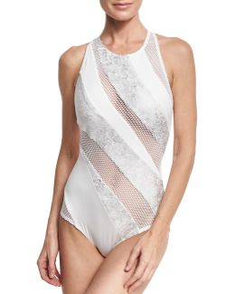 Paneled Mesh High-neck One-piece Swimsuit