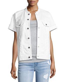 Short-sleeve Raw-edge Denim Jacket