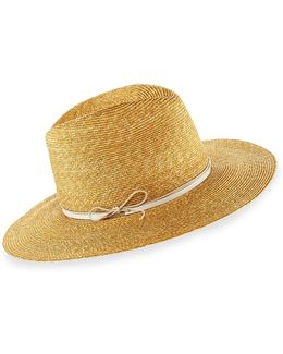 Wrapped Up Straw Fedora Hat