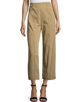 Marley Cropped High-rise Wide-leg Chino Pants