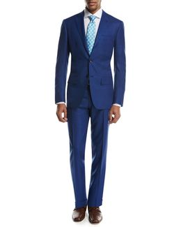 Textured Solid Two-piece Suit