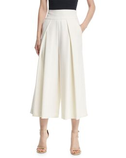 Italian Cady Pleated Wide-leg Culottes