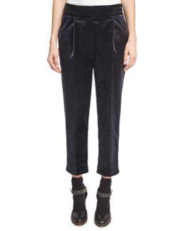Velvet Single-pleat Cropped Trousers