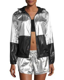 Fuel Metallic Woven Hooded Performance Jacket