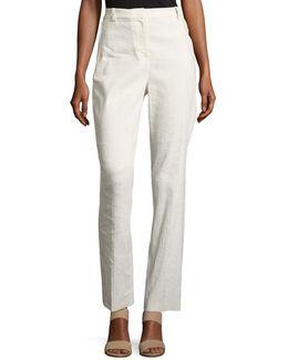 Aiden Seersucker Linen-blend Straight-leg Pants
