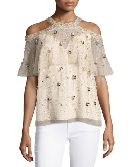 Genevieve Embellished Silk Popover Blouse