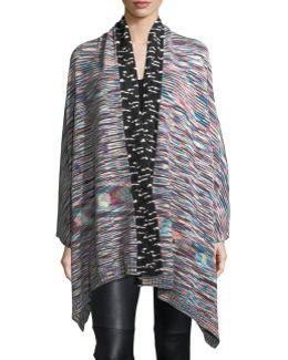 Mixed-stripe Knit Poncho