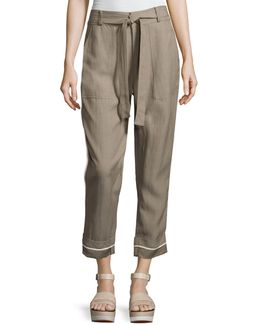 Drawstring Wide-cuff Utility Pants