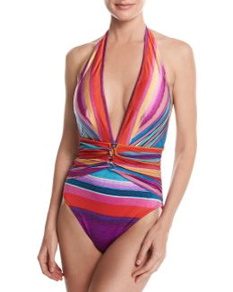 Mai Tai Deep Plunge Halter One-piece Swimsuit