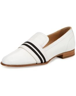 Amber Striped-web Leather Loafer