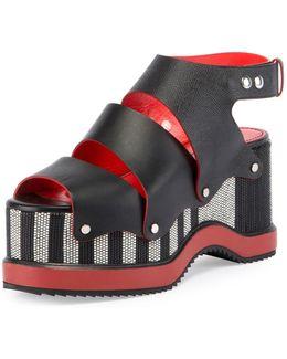 Striped Platform Leather Sandal