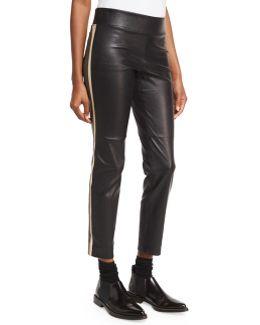 Varsity-striped Leather Pants
