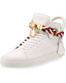 Men's 100mm Leather Mid-top Sneaker With Woven Strap