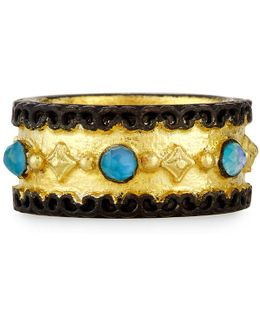 Old World Wide Band Ring With Neon Apatite & White Quartz