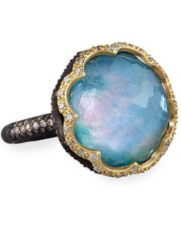 Old World Scalloped Peruvian Opal Triplet Ring With Diamonds